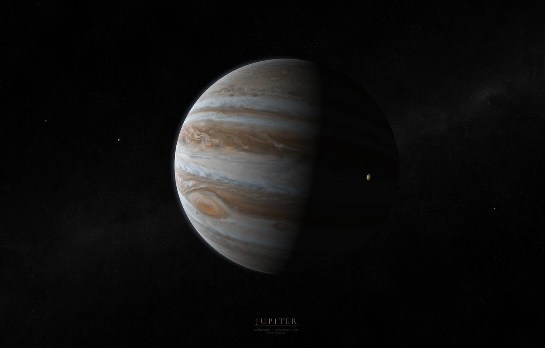 Photo wallpaper planet, Jupiter, satellites, jupiter, gaz giant