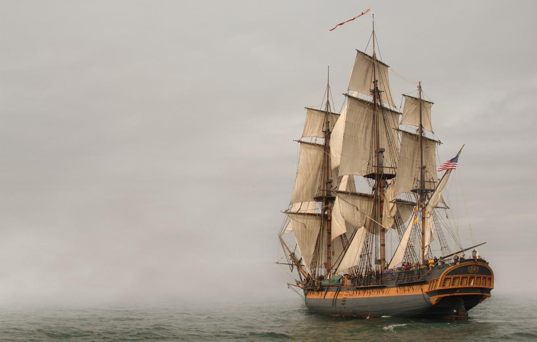 Photo wallpaper sea, fog, sailboat, frigate