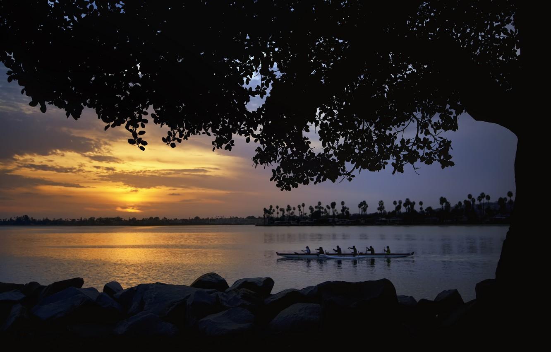 Photo wallpaper trees, sunset, river, shore, boat, team, swimming, Canoeing