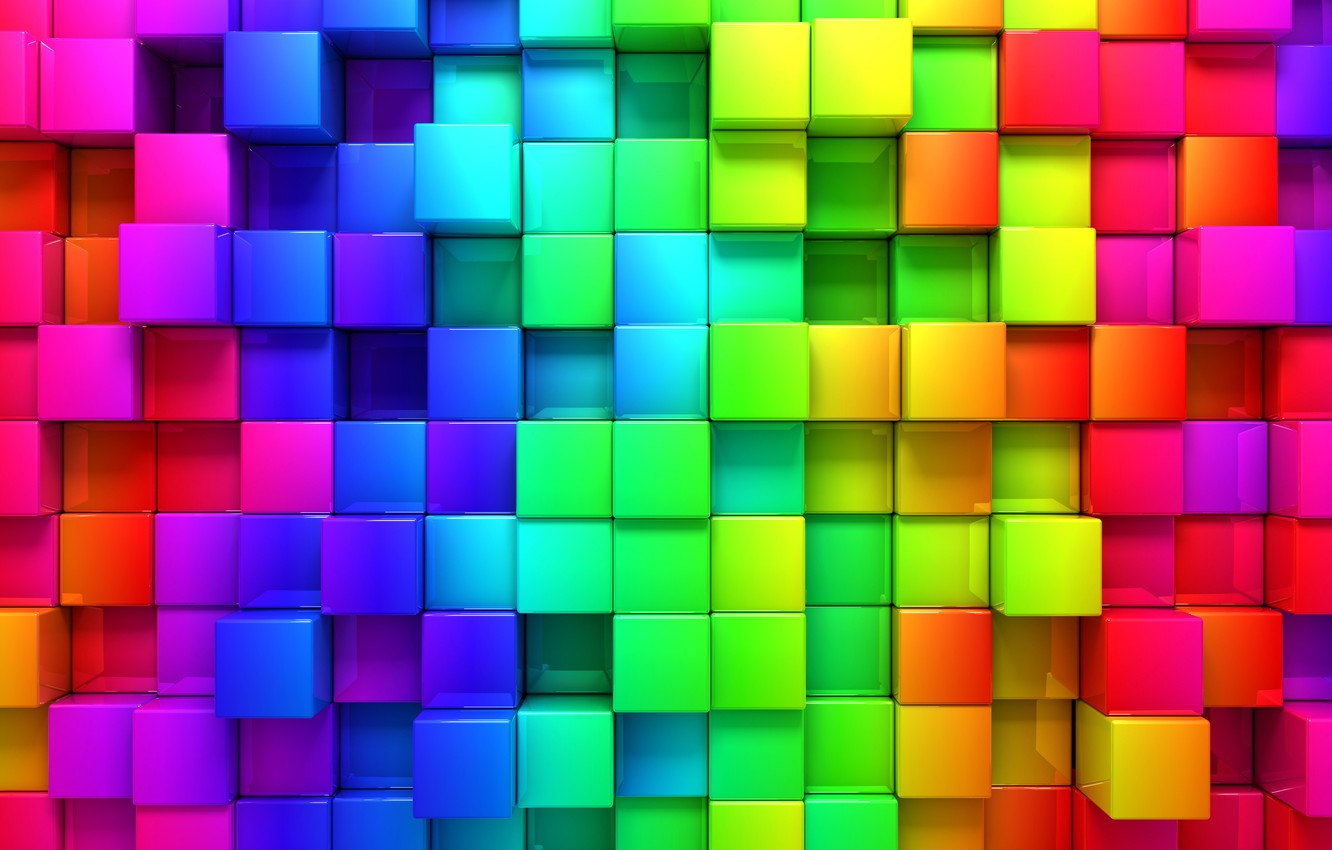 Photo wallpaper rendering, background, Cuba, cubes, colors, colorful, cubes, geometry