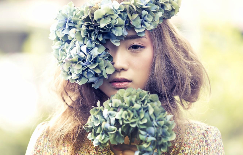 Photo wallpaper flowers, mood, Asian, wreath, hydrangeas