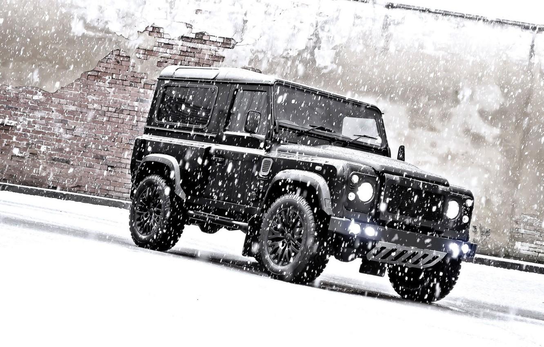 Photo wallpaper snow, jeep, SUV, tuning, land Rover, kahn, land rover defender