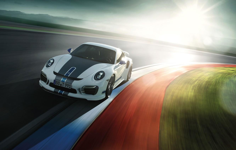 Photo wallpaper The sun, Auto, Road, White, 911, Porsche, Machine, Turbo, Sports car, by TechArt