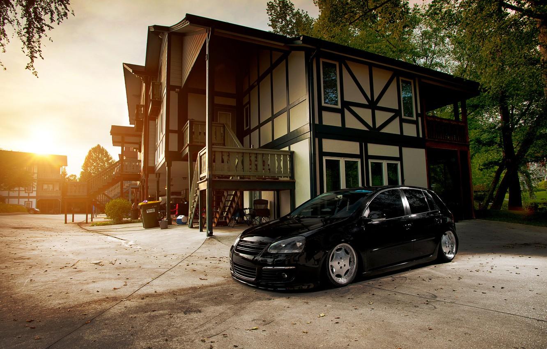 Photo wallpaper house, black, volkswagen, Golf, golf, Black, Volkswagen, stance, MK5