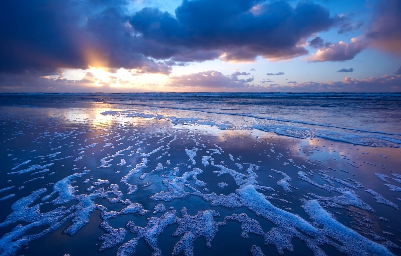 Photo wallpaper beach, sunset, surf