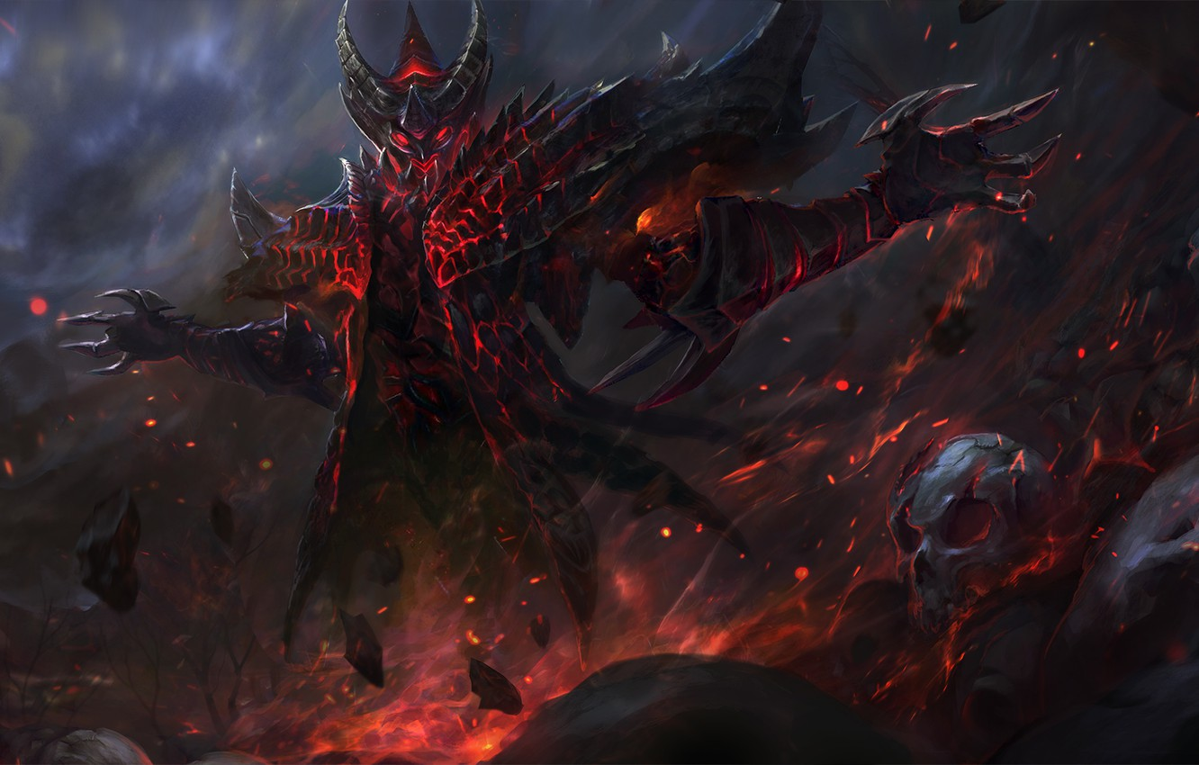 Wallpaper Fantasy Darkness Fire Magic Skull The Demon