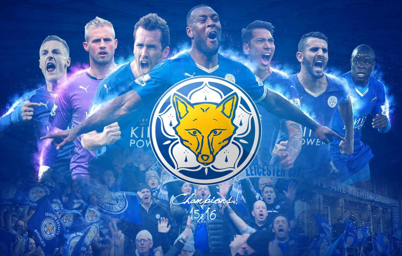 Photo wallpaper wallpaper, sport, logo, football, fans, players, Leicester City FC