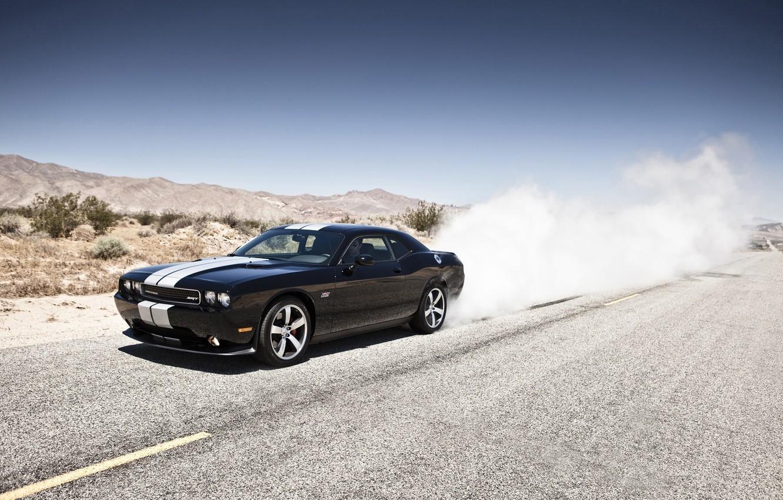 Photo wallpaper mountains, black, desert, smoke, Dodge, SRT8, Challenger, black, Dodge, 392, racing stripes, Challenger, burns rubber