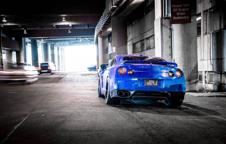 Photo wallpaper blue, shadow, blur, nissan, cars, Nissan, blue, gt-r, back, r35