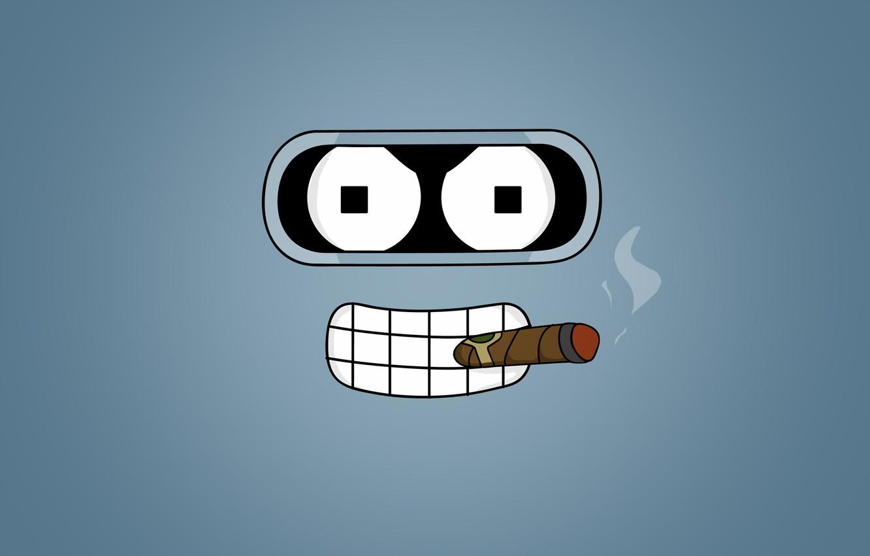 Photo wallpaper look, cigar, Bender, Futurama, Futurama