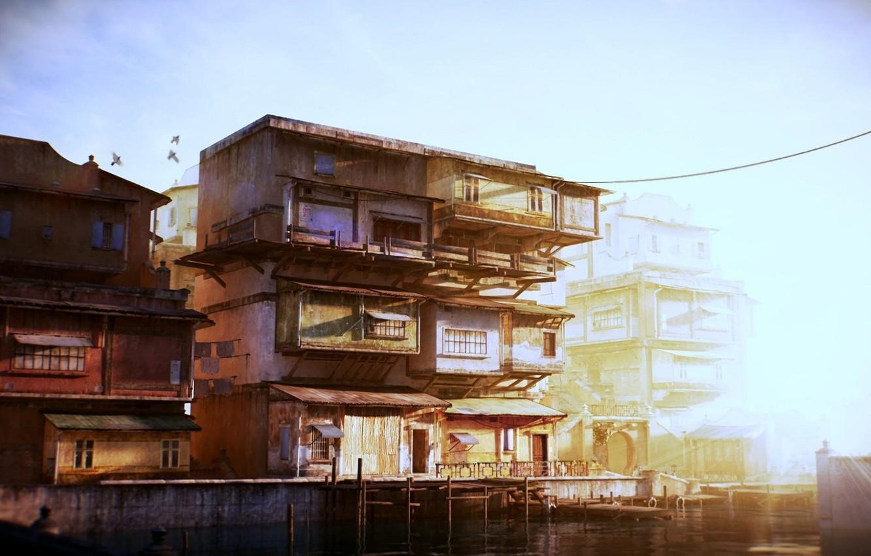 Photo wallpaper light, house, pier, China