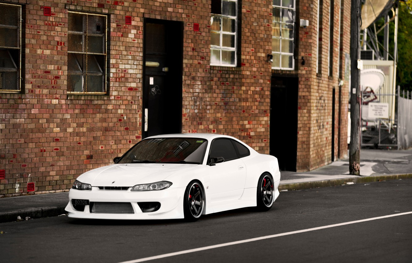 Photo wallpaper S15, Silvia, Nissan, white, front, PEOPLE