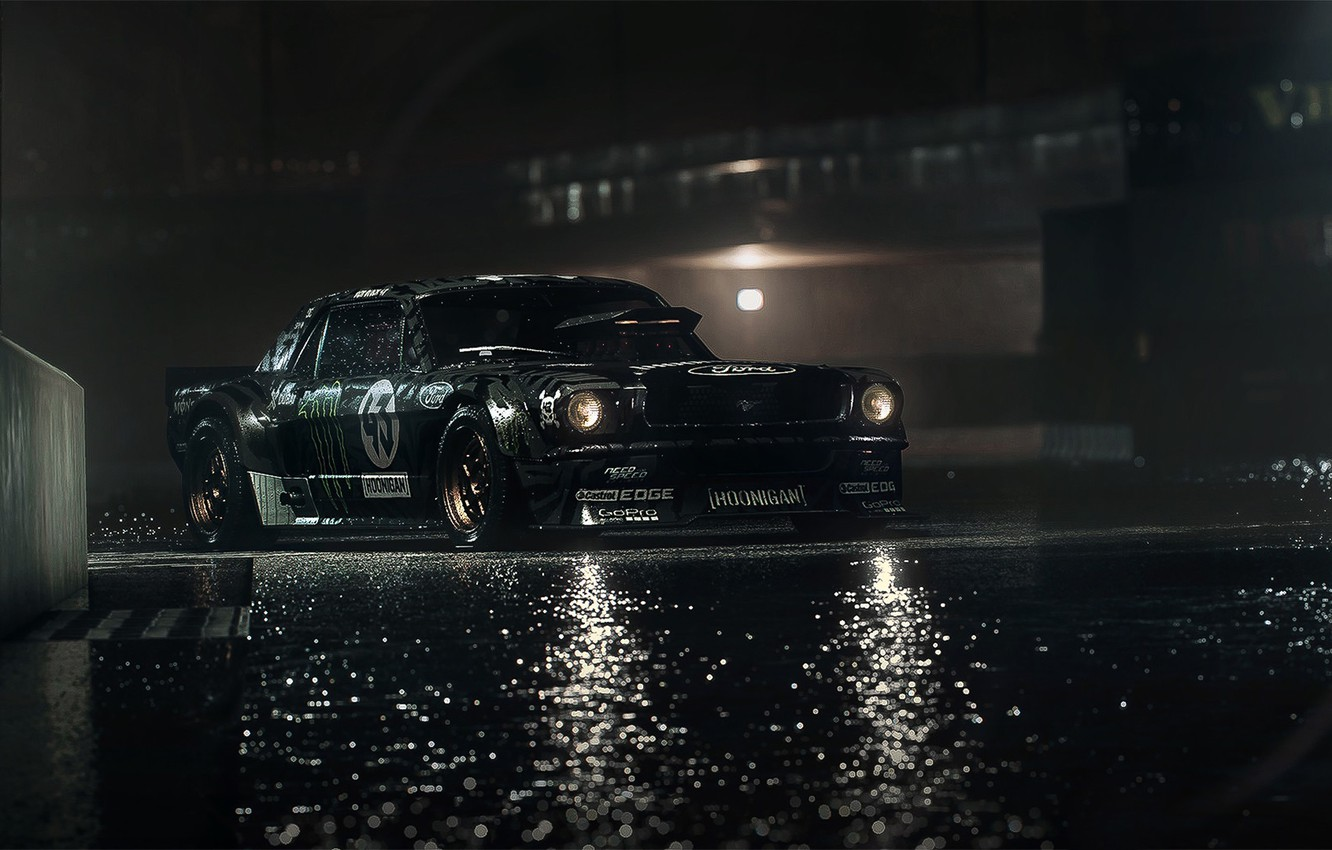 Photo wallpaper Mustang, Ford, Dark, Front, 1965, RTR, Ken Block, Gymkhana, Hoonicorn, SEVEN, 845 hp