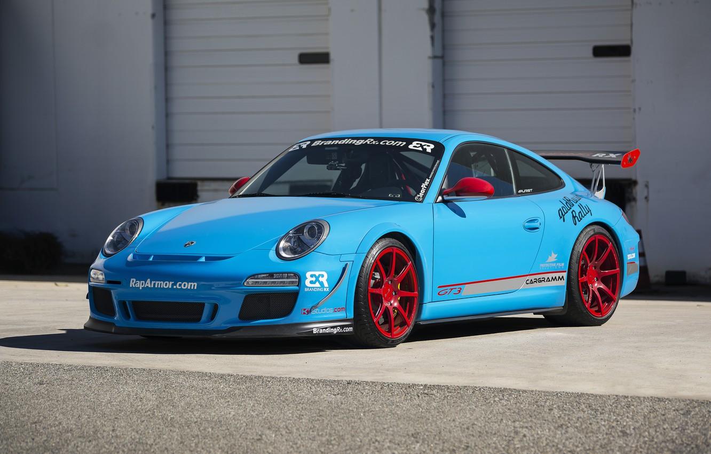 Photo wallpaper red, wheels, porsche, gt3, blue
