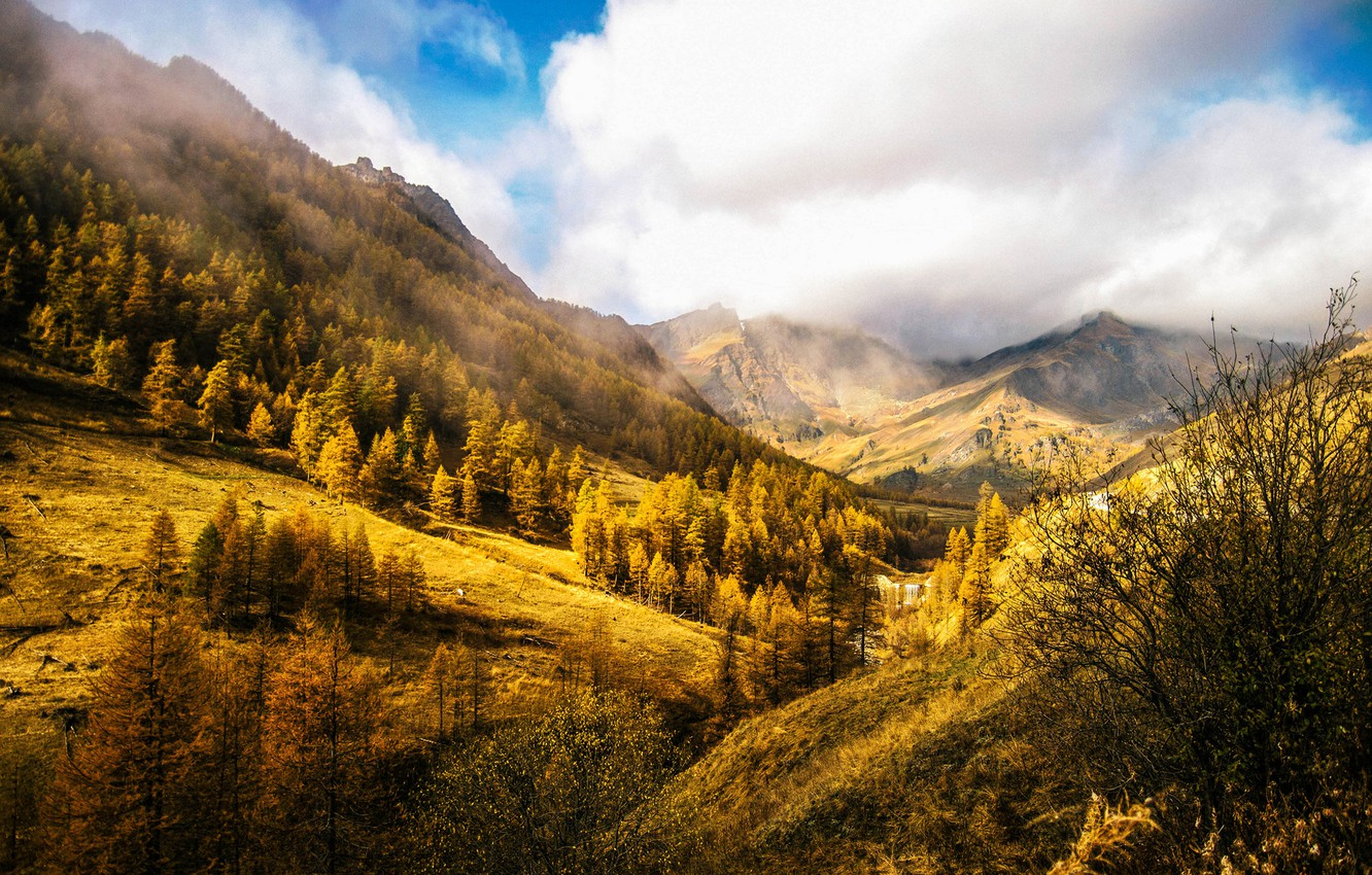Photo wallpaper autumn, the sky, clouds, trees, landscape, mountains, nature, hills, Italy, Italy, Italia, Piemonte, Piedmont, Chianale