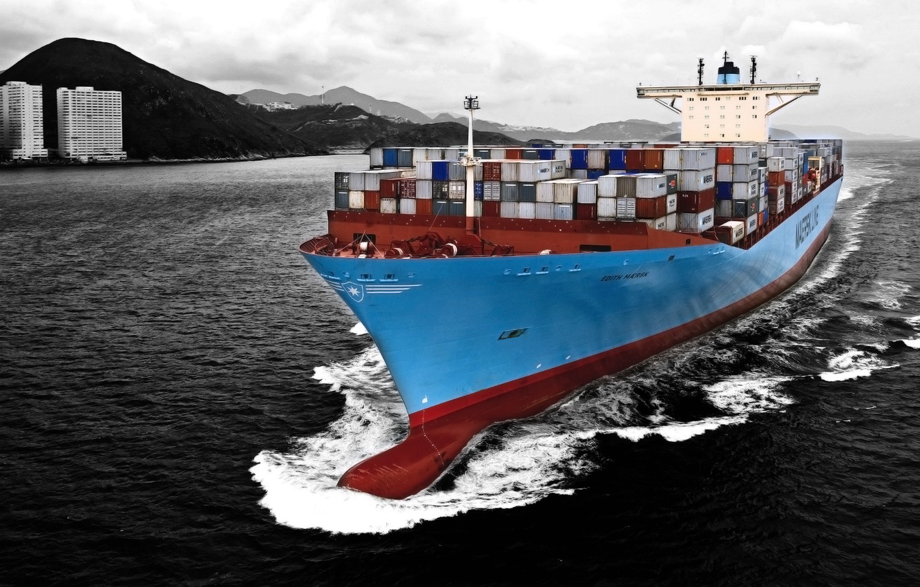 Photo wallpaper Water, Sea, Blue, The ship, A container ship, Tank, Black and white, Container, Maersk, On …