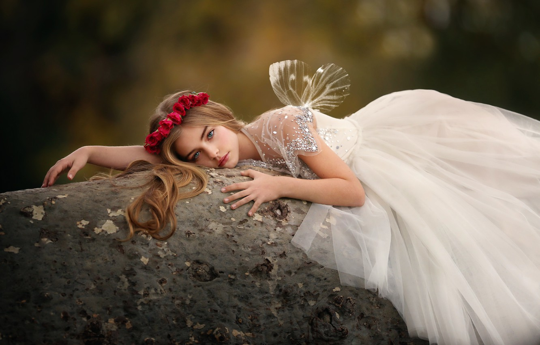 Photo wallpaper roses, dress, girl, the beauty, wreath