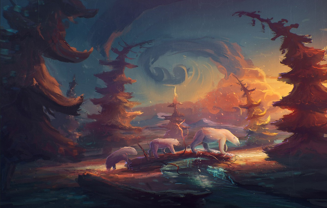 Photo wallpaper forest, clouds, trees, river, bears, polar bears