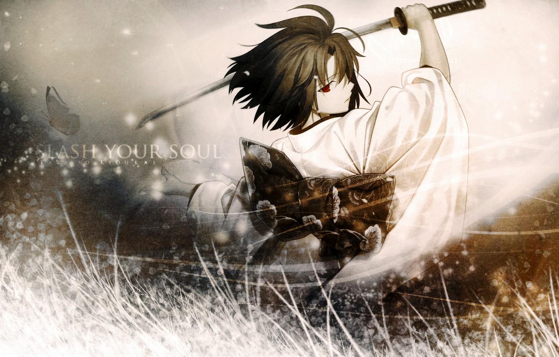 Photo wallpaper Wallpaper, sword, samurai, Anime