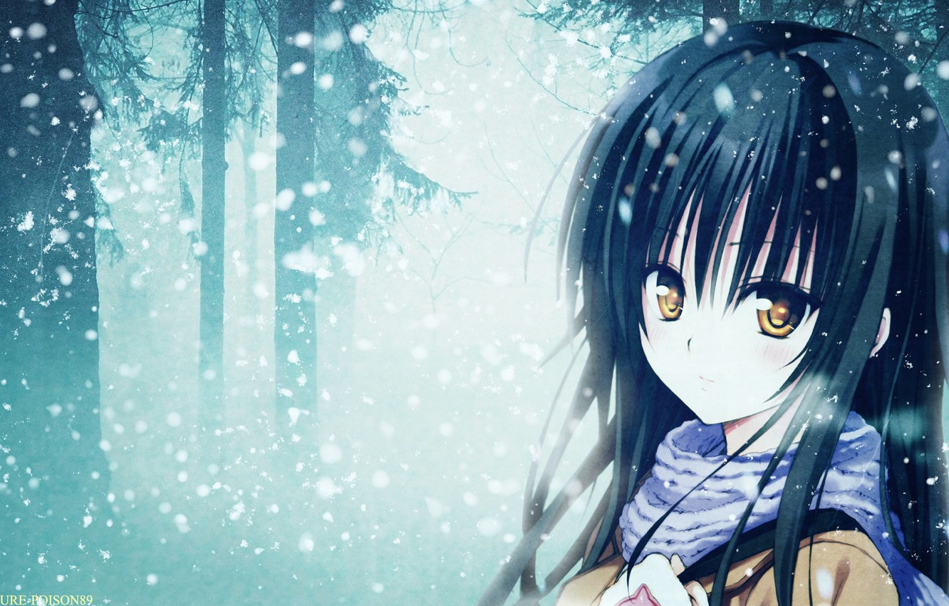 Photo wallpaper forest, snow, anime, scarf, girl, forest, snow, Kotegawa Yui, To Love Ru