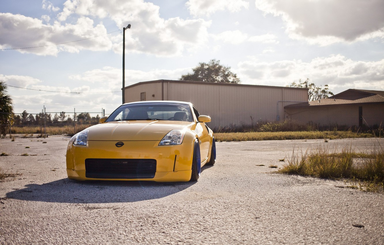 Photo wallpaper yellow, nissan, 350z, style, stance, JDM