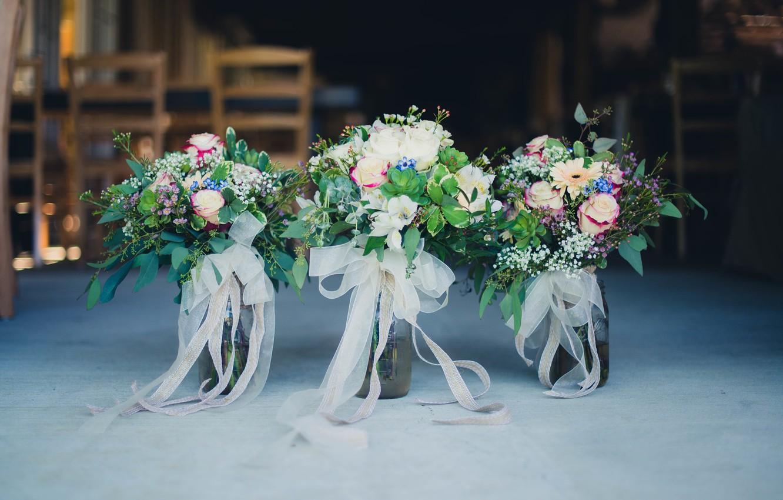 Photo wallpaper flowers, wedding, bouquets