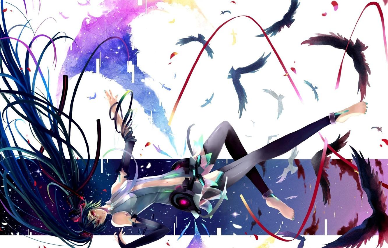 Photo wallpaper birds, tape, anime, art, vocaloid, hatsune miku, Vocaloid, miku append, nako, girl feathers