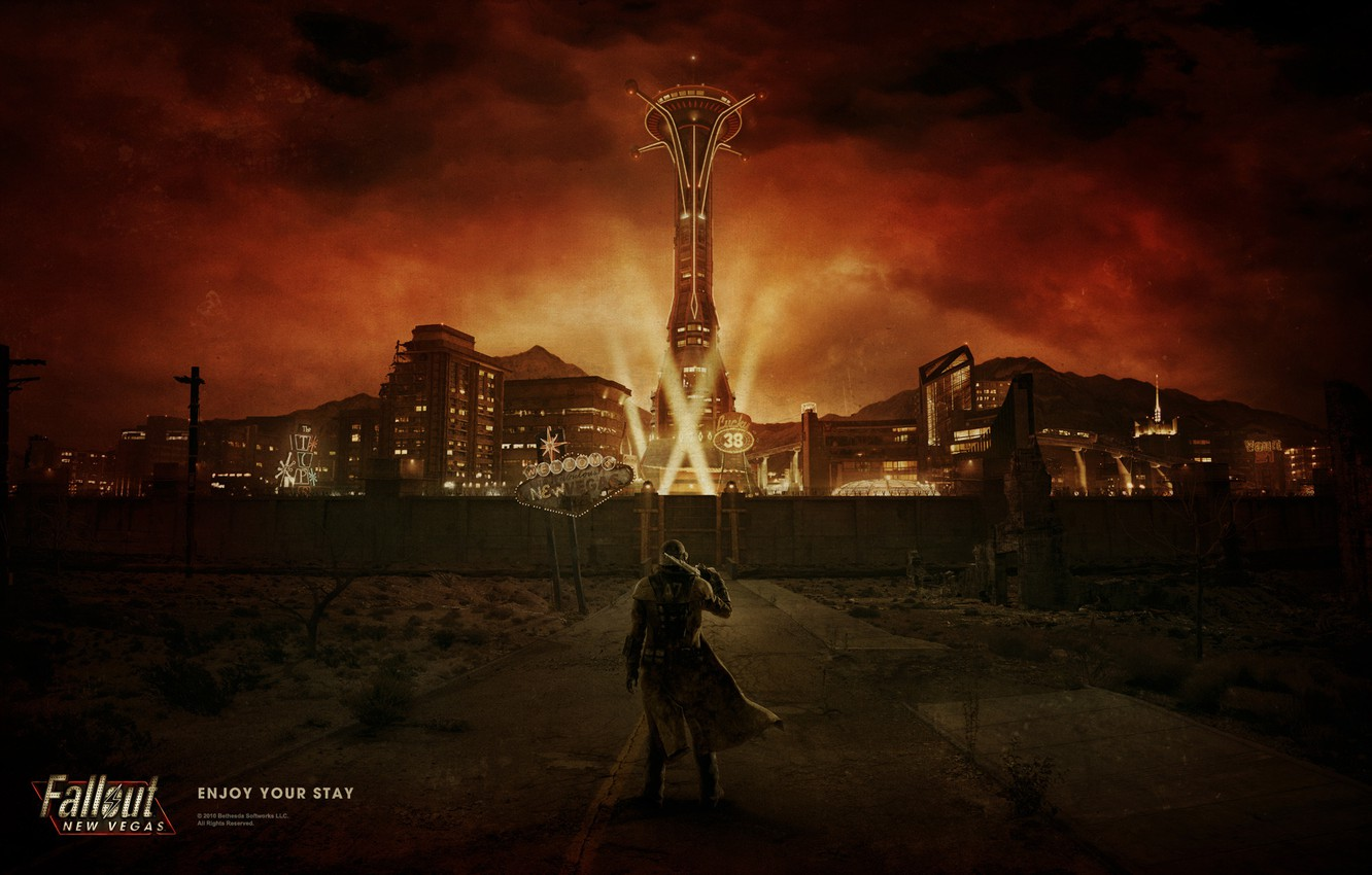 Photo wallpaper road, night, the city, lights, Fallout, Ranger, New Vegas