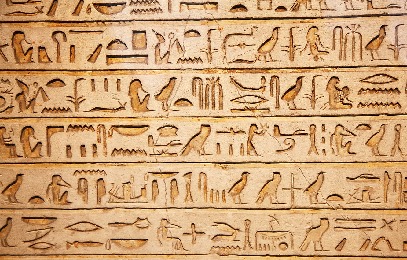 Photo wallpaper wall, hieroglyphic, Egyptian, meaning