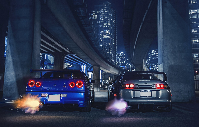 Photo wallpaper Nissan, Toyota, Cars, Supra, Skyline, Sport, R34, Exhaust, Nigth