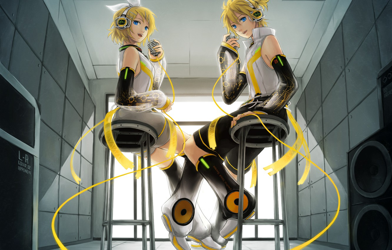 Photo wallpaper music, anime, concert, microphone, len, vocaloid, Duo, kagamine rin, Rin, kagamine len, Vocaloid