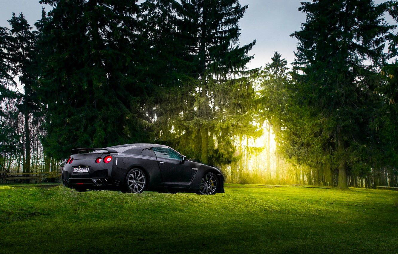 Photo wallpaper GTR, Japan, Nissan, Car, Black, Sun, Matte, R35, Sport, Summer, Forest, Rear, Farm