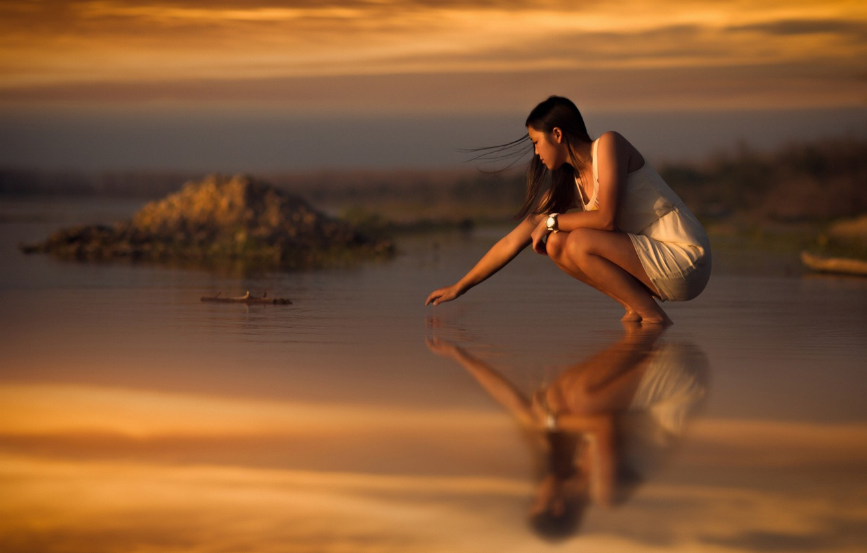 Photo wallpaper sand, sea, beach, girl, sunset, the wind, hair, watch, tide, touch, girl, Asian, beach, white …