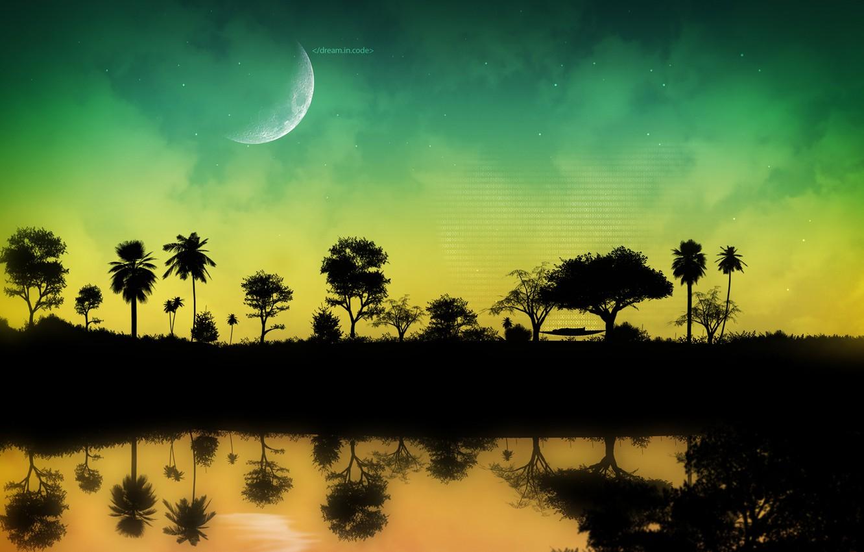 Photo wallpaper water, trees, night, the inscription, the moon, people, code, hammock