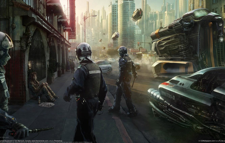 Photo wallpaper the city, future, street, police