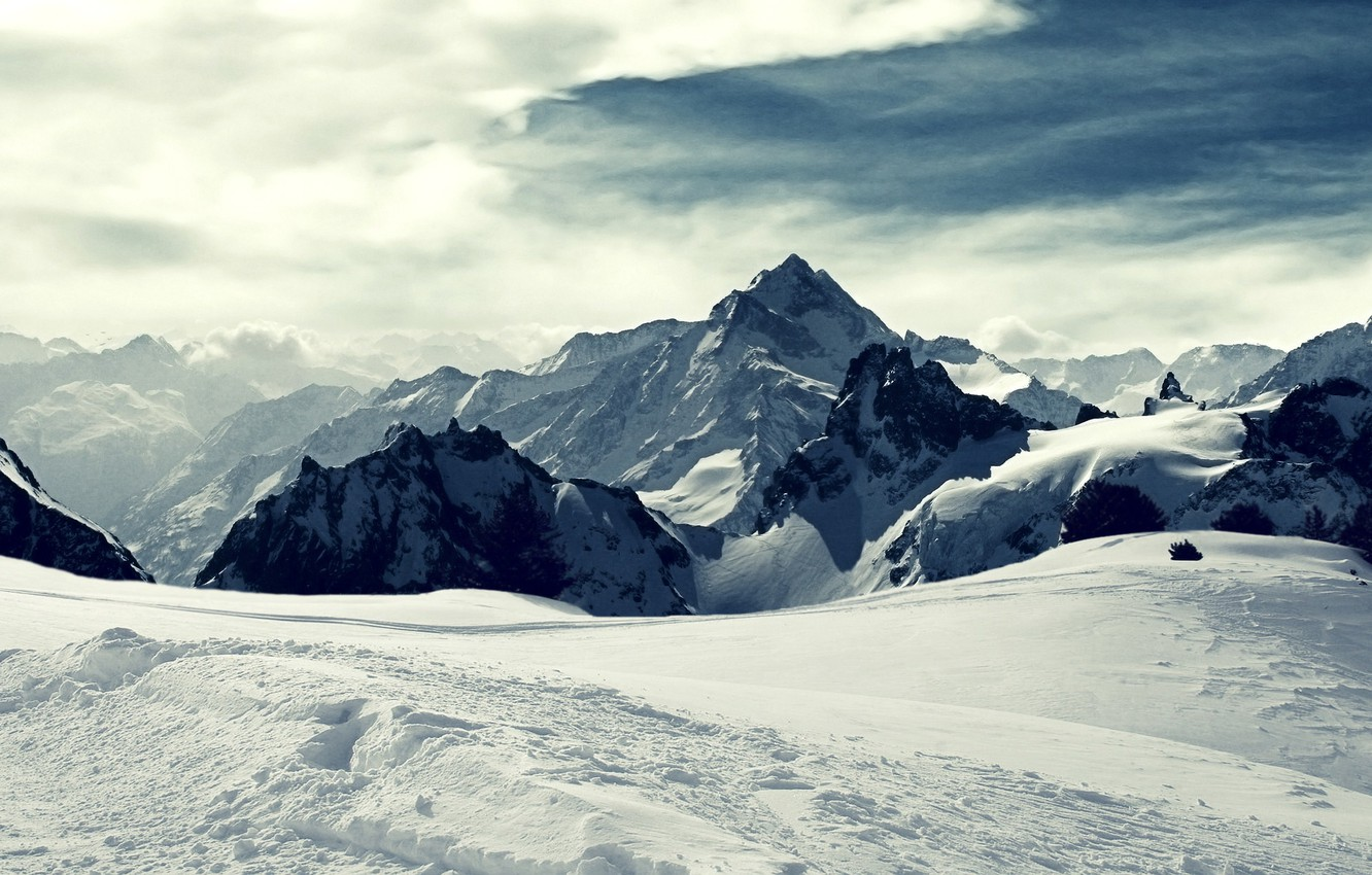 Photo wallpaper ice, the sky, clouds, snow, traces, the wind, tops, valley, glacier, wind, Ice