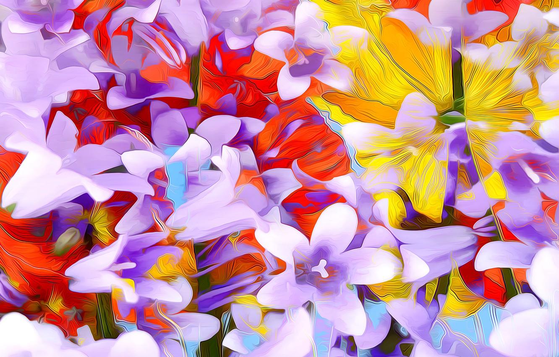 Photo wallpaper line, flowers, rendering, paint, petals