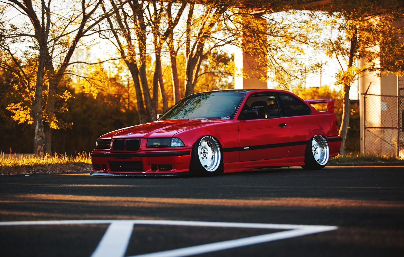 Photo wallpaper auto, tuning, BMW, BMW, red, red, tuning, E36