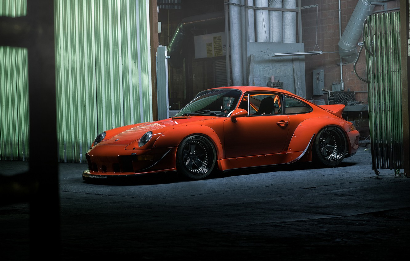 Photo wallpaper pipe, Porsche, auto, tuning, industrial zone, orange