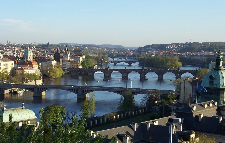 Photo wallpaper the city, view, Prague, Czech Republic, bridges, beautiful, Praga, through, Panoramny, Prague., Czech Republic, the …