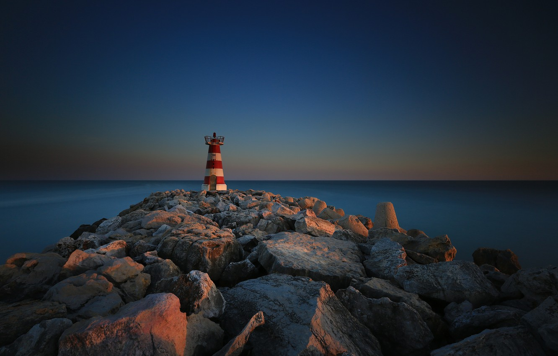 Photo wallpaper sea, stones, lighthouse, Portugal, Faro, the breakwater, Vilamoura
