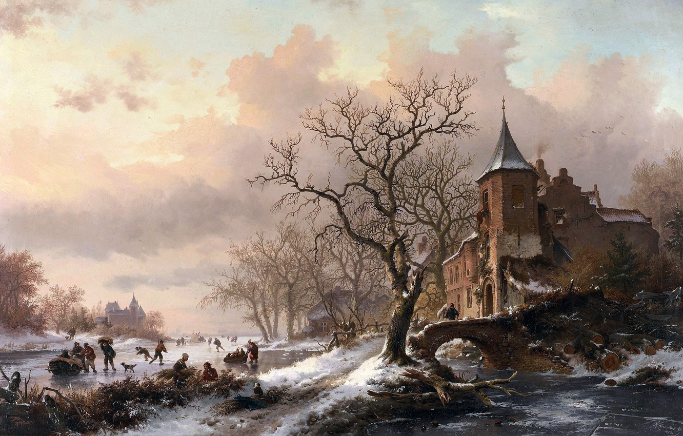 Photo wallpaper picture, painting, painting, Castle in a Winter Landscape and Skaters on a Fozen River, 1855, ...