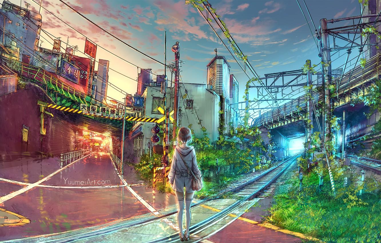 Photo wallpaper girl, bridge, the city, art, railroad, yuumei, Wenqing Yan