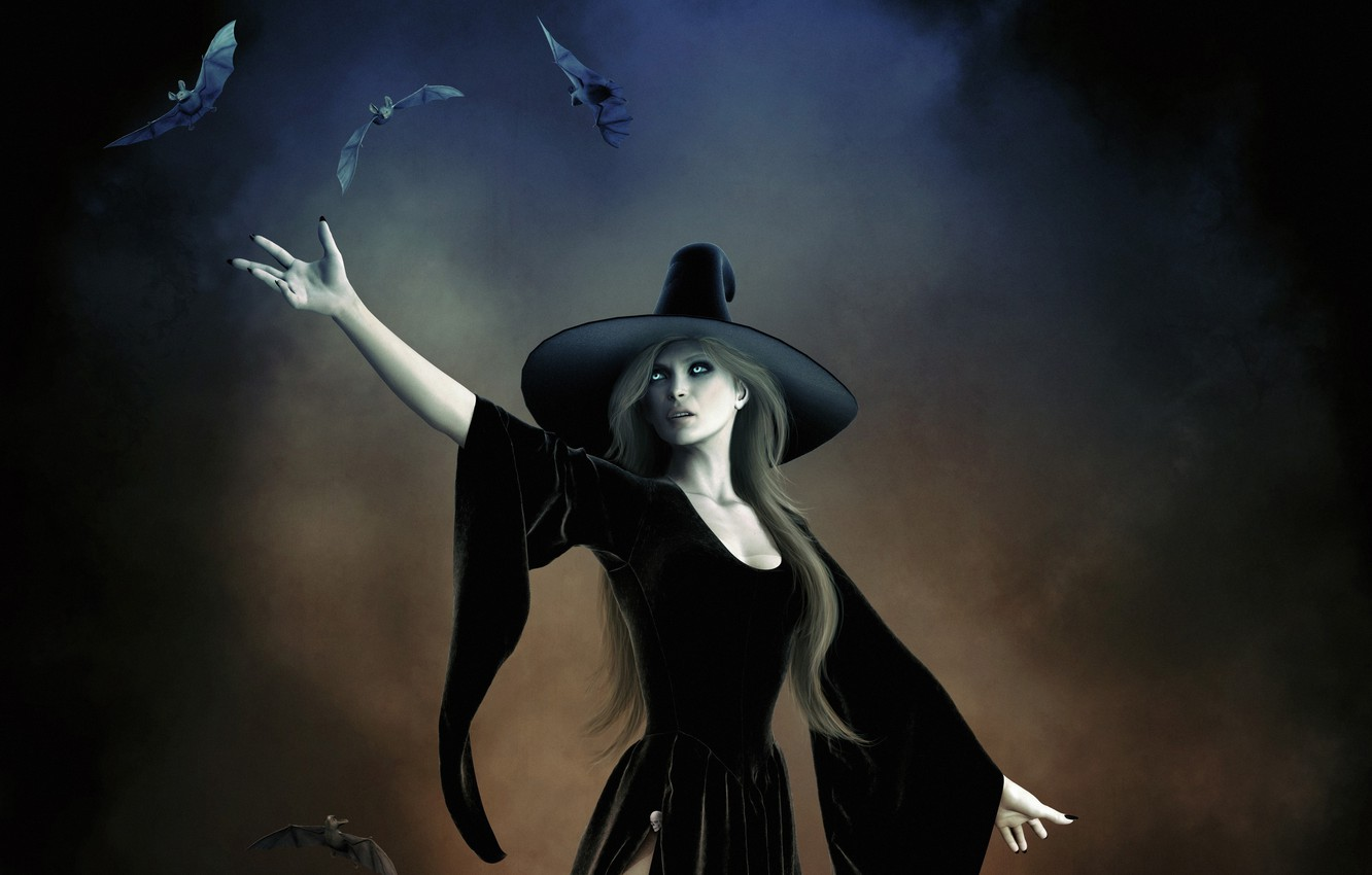 Photo wallpaper girl, magic, hat, witch, bats, witchcraft