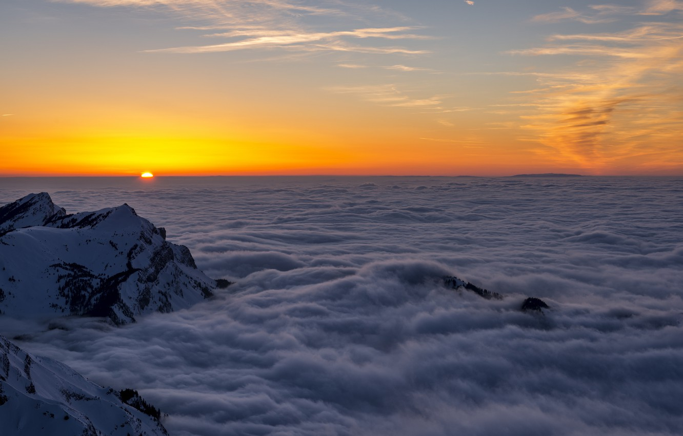 Photo wallpaper the sun, clouds, sunset, mountains, height