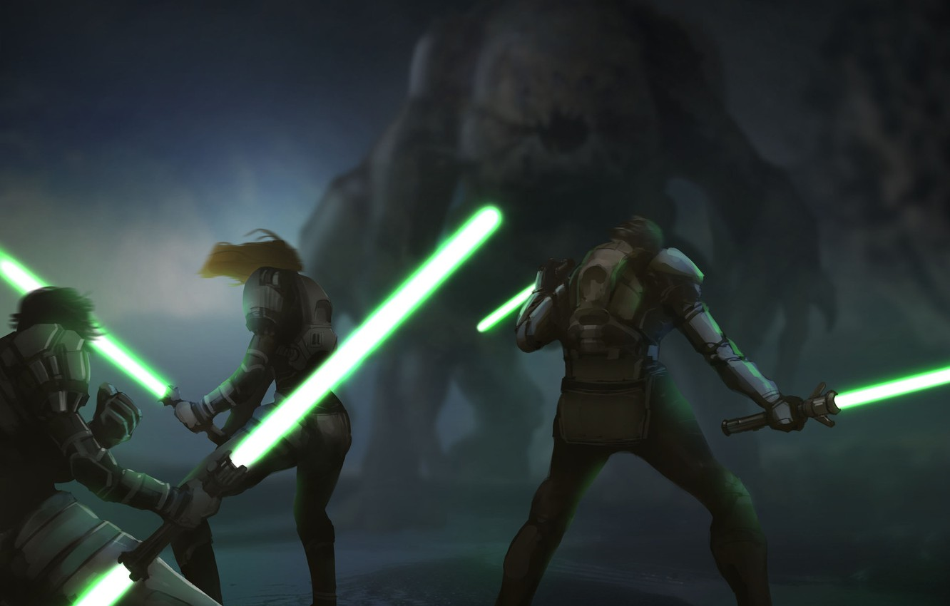Wallpaper Monster Star Wars Knights The Jedi Lightsabers