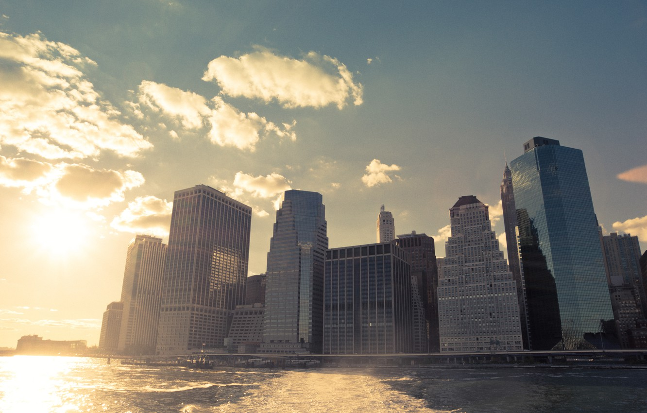 Wallpaper Usa United States River Sunset Water New York Manhattan Nyc New York City Skyline Shore Financial District Port Bay America United States Of America Images For Desktop Section Gorod Download