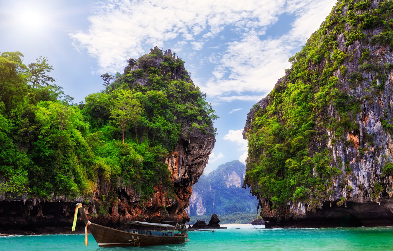 Photo wallpaper landscape, nature, the ocean, rocks, boat, Bay, Thailand, resort, Krabi, Ao Nang, THAILAND
