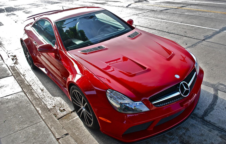 Photo wallpaper red, tuning, Mercedes, Benz, sports car, Black Series, SL65