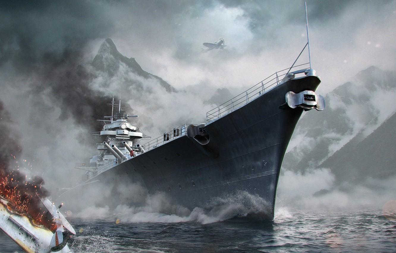 Photo wallpaper Water, Sea, Mountains, Fog, Wave, Ship, Battleship, Bismarck, Wargaming Net, Bismarck, WoWS, World of Warships, …